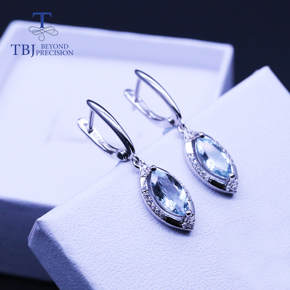 Natural 1.5ct Aquamarine  Clasp Earring  925 Sterling Silver Real Brazil Gemstone  Jewelry For Women Wife Tbj Promotion