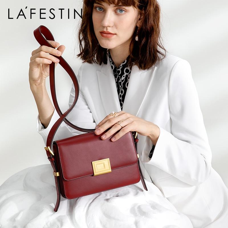 LAFESTIN 2019 New Fashion Wide Shoulder Strap Shoulder Bag Organ Messenger Small Square Bag Workplace Commuter Handbag Women