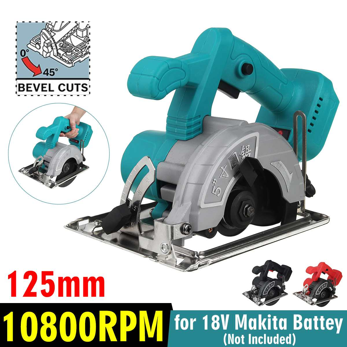 125mm  Machine  Circular Cutting  Saw Adjustable 0  Power 45 To   Electric For Battery 10800RPM Makita 18V  Tools Multifunction