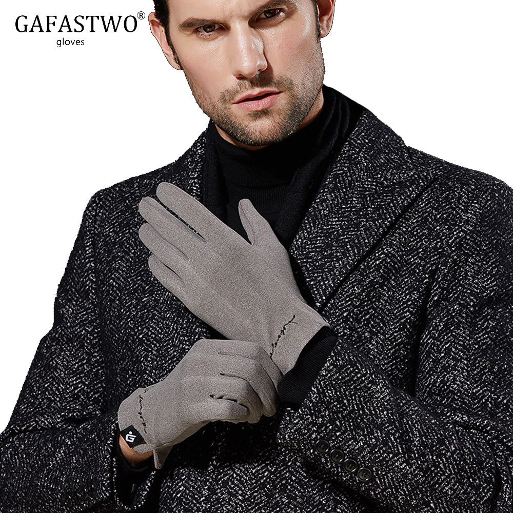Autumn Winter Thin Mens Self-Heating Gloves Women Fashion Imitation Cashmere Business Touch Screen Windproof Gloves Embroidery