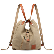 Canvas Women Shoulder Bags High Quality Multifunction Women Back Pack For Students School Travel Bags Large Capacity cheap Casual Tote zipper Soft Silt Pocket Women canvas bags Polyester Versatile Solid Single Interior Slot Pocket Interior Compartment