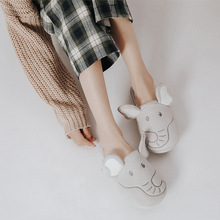 купить Gray big ear indoor cotton Slippers Women Fall Winter Warm Home Slippers Non-slip Indoor Shoes Girl Thermal Soft Silent Slides дешево
