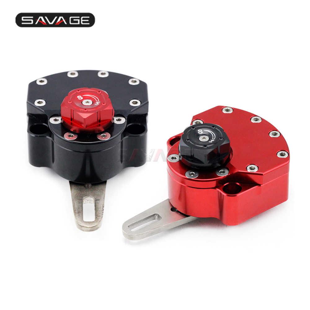 Adjustable Steering Damper Stablizer Aluminum Motorcycle Motorbike  Red+Black