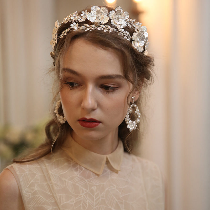 Большой цветочный свадебный волос в виде короны тиара серебристый лист свадебный головной убор ручной работы женские вечерние выпускного ...