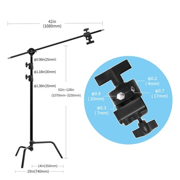 light stand backdrop stand C-Stand with Hold Arm Grip Head Heavy Duty Stainless Steel for Photography Reflectors/Softboxes