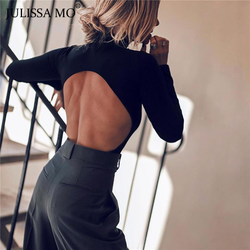 JULISSA MO Black Backless Sexy Women Bodysuit Long Sleeve Bodycon Jumpsuit Rompers Female Casual Skinny Basic Tops Body Mujer