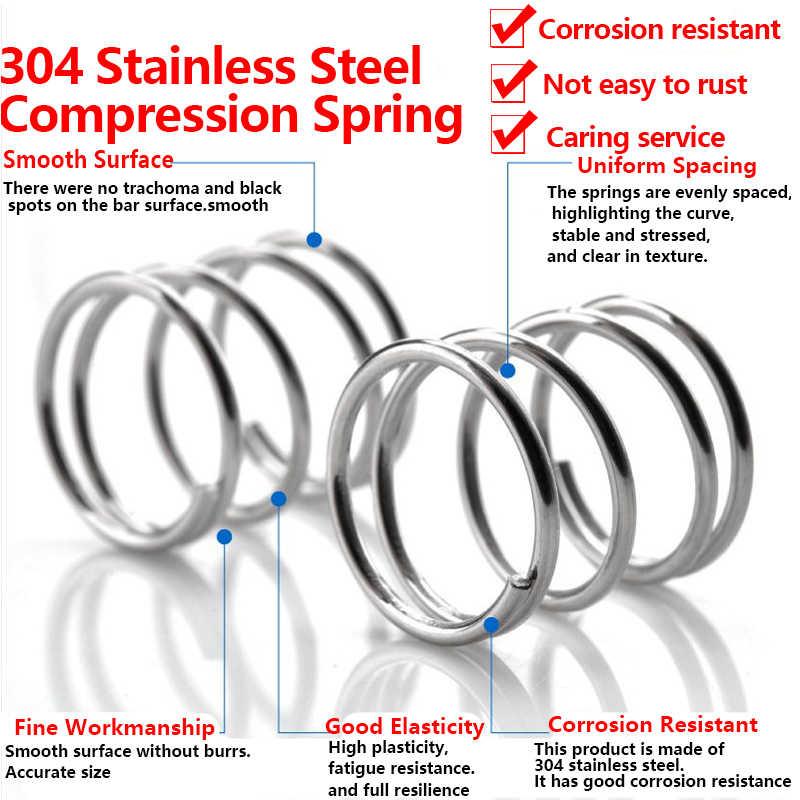 304 mola de compressão de aço inoxidável 60-100mm o diâmetro do fio da mola de retorno da mola de pressão da bobina: 0.6mm od: 5mm