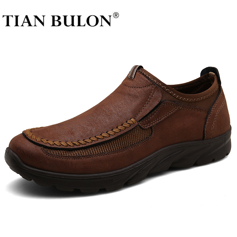 Men Casual Shoes Leather Zapatos Brand 2020 Mens Loafers Moccasins Breathable Slip On Male Formal Driving Shoes Plus Size 39-48