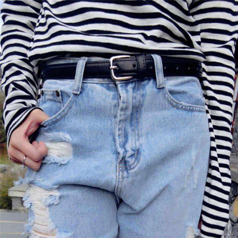 1 PC 110 Cm Thời Trang Nữ Da Thật Giày Mỏng Dây Lưng Da Thắt Lưng Với Pin Khóa Màu Đen