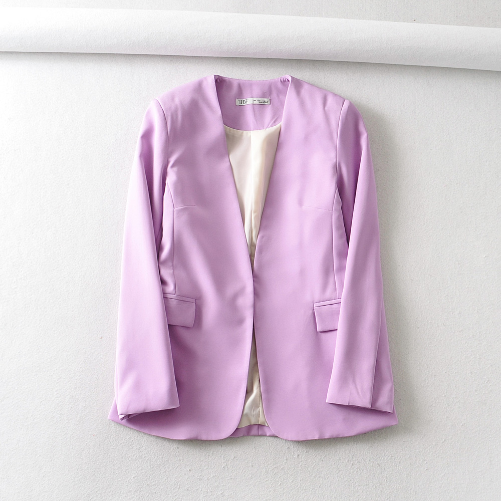 2020 Women Elegant Solid Color V Neck Pink Blazer Office Lady Long Sleeve Hidden Button Causal Stylish Outwear Coats Tops CT396