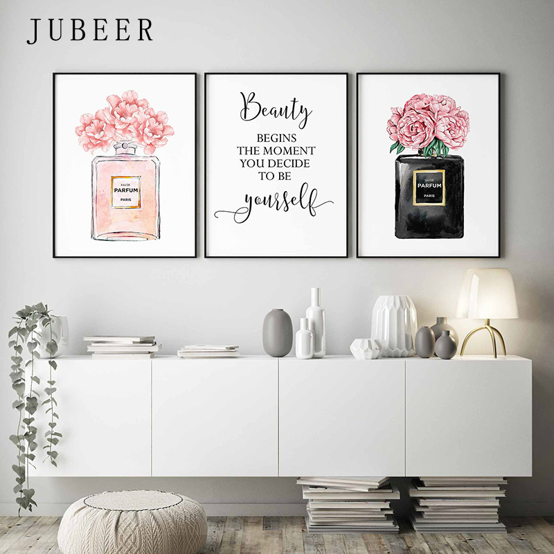 Perfume Bottle Wall Art Perfume Posters And Prints Beauty Begins Quote Print Watercolor Flower Pictures Bedroom Decoration
