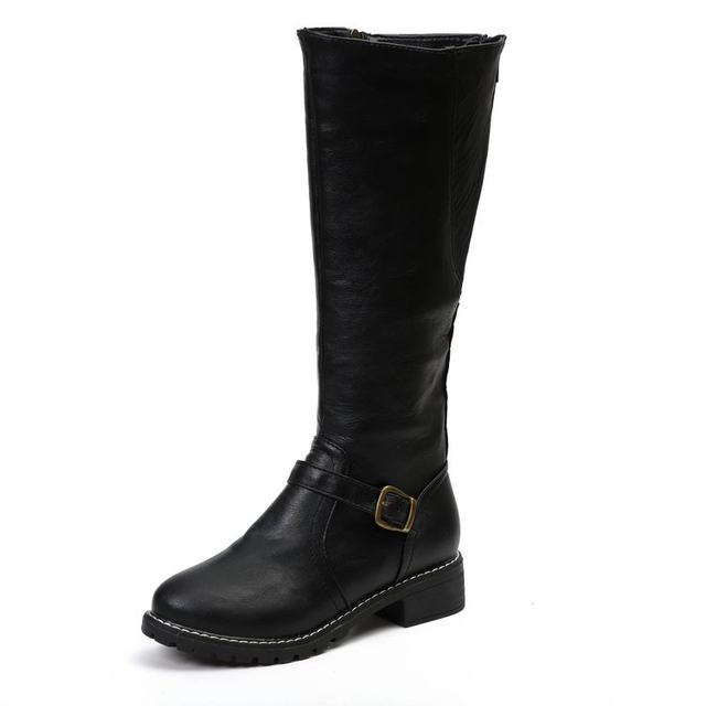 2019 Knees Square Heel Boots Women PU Leather Suede Matte Boots Slip on Zapatos De Mujer Solid Riding Knight Boots Winter Shoes 28