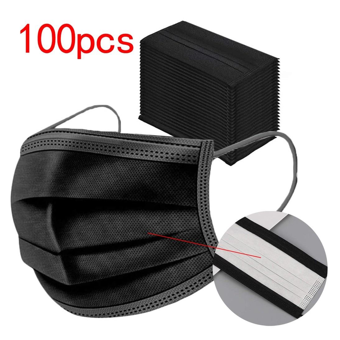 100 Pcs одноразовая маска для лица 3 Слои аэродинамическим способом из расплава Нетканые пыли гражданского женские дышащая обувь с сетчатой тк...
