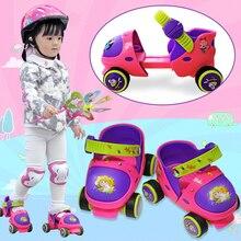 Kids Roller Skates Double Row 4 Wheels Adjustable Children Inline Sliding Beginner Outdoor Safe Resistance Button Skating Shoes