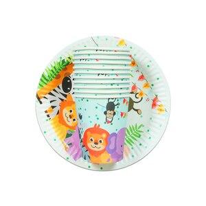 Image 1 - 20 pièces dessin animé licorne/Panda/Mario Animal vaisselle jetable ensembles assiette en papier tasse mariage fête danniversaire Supplie