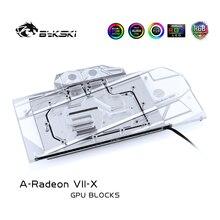 Amd radeon vii/sapphire radeon 7/reference edition/풀 커버 구리 라디에이터/rgb 라이트 오라 용 bykski 워터 블럭 사용