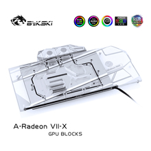 Bykski Water Blok gebruik voor AMD Radeon VII/Sapphire RADEON 7/Referentie Editie/Full Cover Koperen Radiator /RGB Licht aura