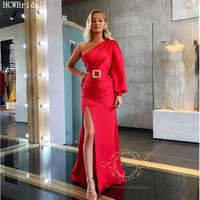 Red One Shoulder Arabic Evening Dress Long Sleeve High Slit Satin Mermaid Formal Dresses With Crystals Accessory Robe De Soiree