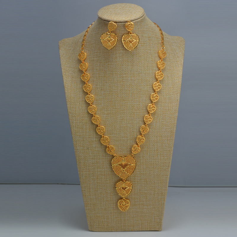 Indian Chokers Wedding Chain Jewelry Sets Gold Color Earrings For Women African/Dubai/Arab Wedding/Party Wife Gifts
