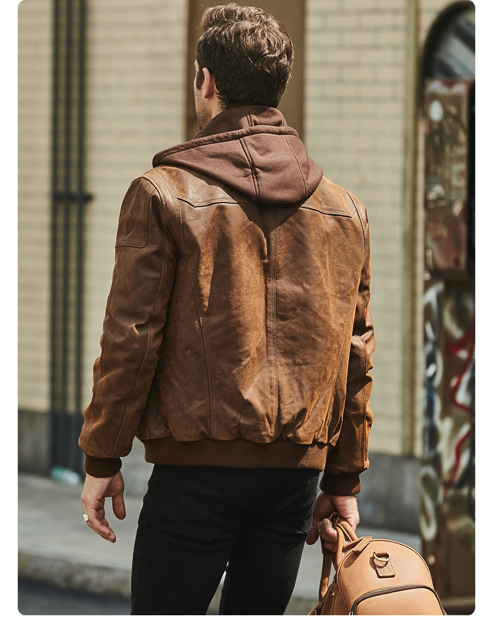 H29af52e63f5a434782ce1f7af35a3510l FLAVOR New Men's Real Leather Jacket with Removable Hood Brown Jacket Genuine Leather Warm Coat For Men