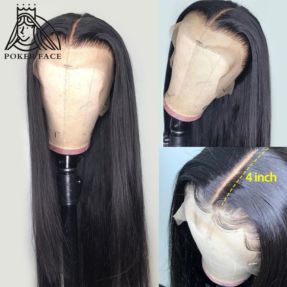 Poker rosto 13x4 frente do laço perucas de cabelo humano brasileiro 28 30 polegadas reta peruca frontal do laço pré arrancado com o cabelo do bebê remy
