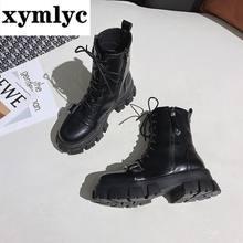 2020 модные кожаные ботинки женская обувь Зимние ботильоны на