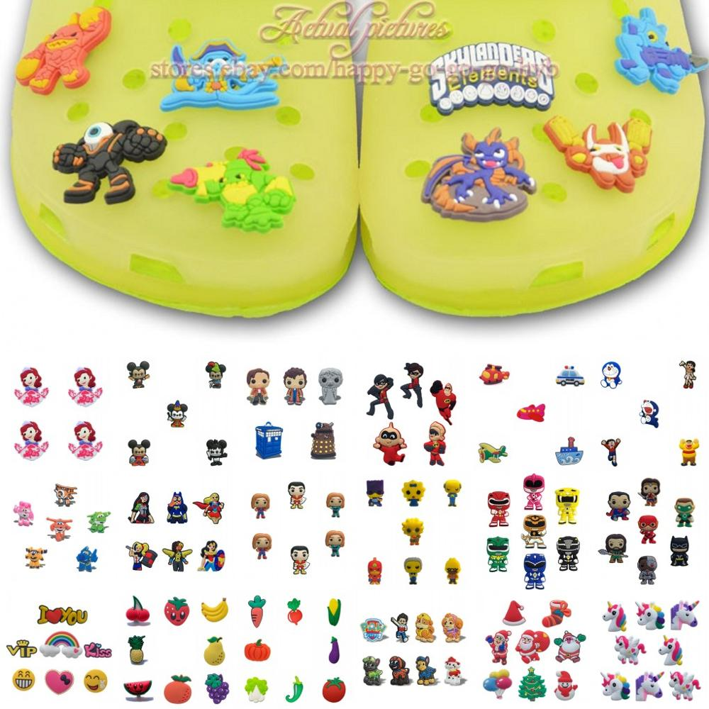 4-8pcs/set Moana Nemo Unicorns Shoe Charms Shoe Accessories Decoration For Kids Croc Jibz Croc Charms Fit Silicone Bands