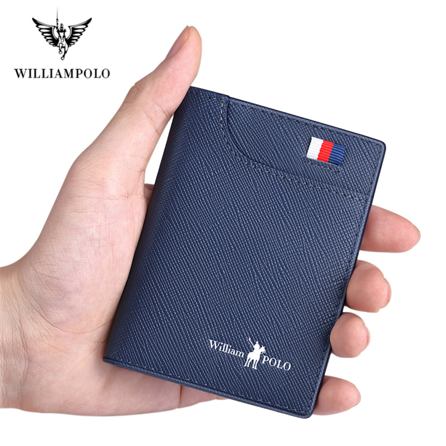 WILLIAMPOLO Men Small Wallet Men Mini Purse Genuine Leather Slim Card Holder Cowskin Thin Luxury Wallet Men Short Vintage Wallet