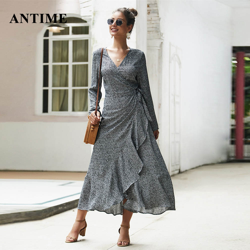 Antime Ruffles Wrap Maxi Dress Boho Long Sleeve Casual V Neck High Waist Autumn Winter Women Floral Print Dresses Vestidos