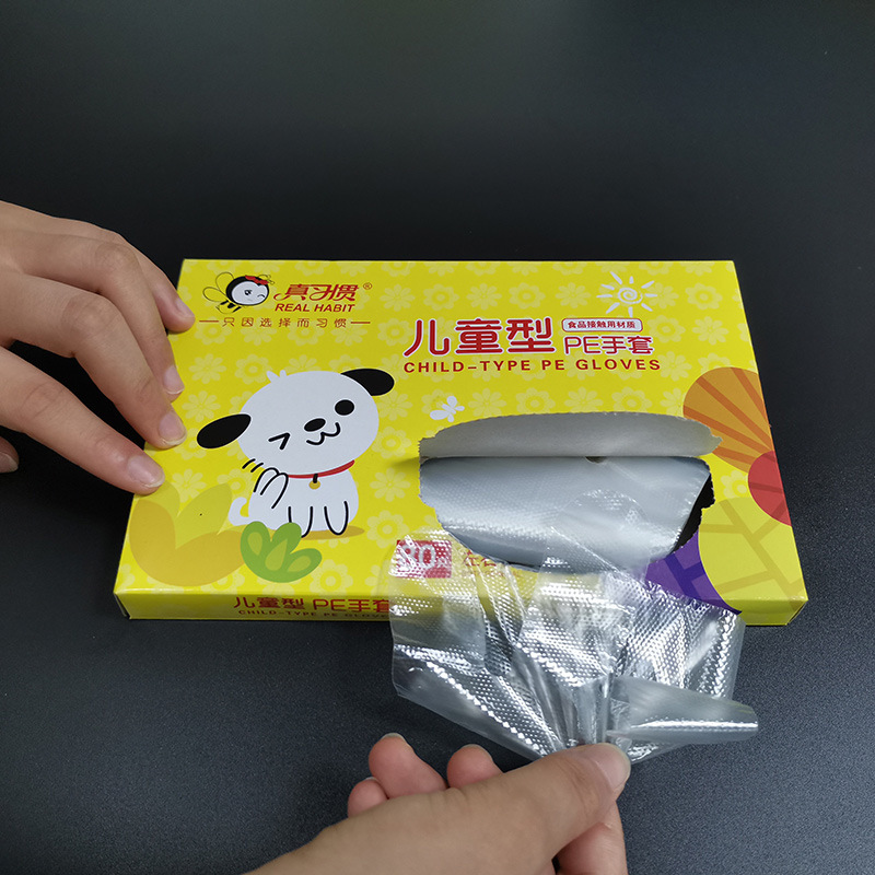 80 Daily Protective Thick Gloves Boxed Children Disposable Food Gloves PE Plastic Gloves Kids Special Transparent Bags In Stocks