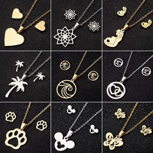 Jisensp Stainless Steel Jewelry Sets Fashion Butterfly Necklace Earrings for Women Cartoon Animal Mickey Pendant Necklaces Gift(China)