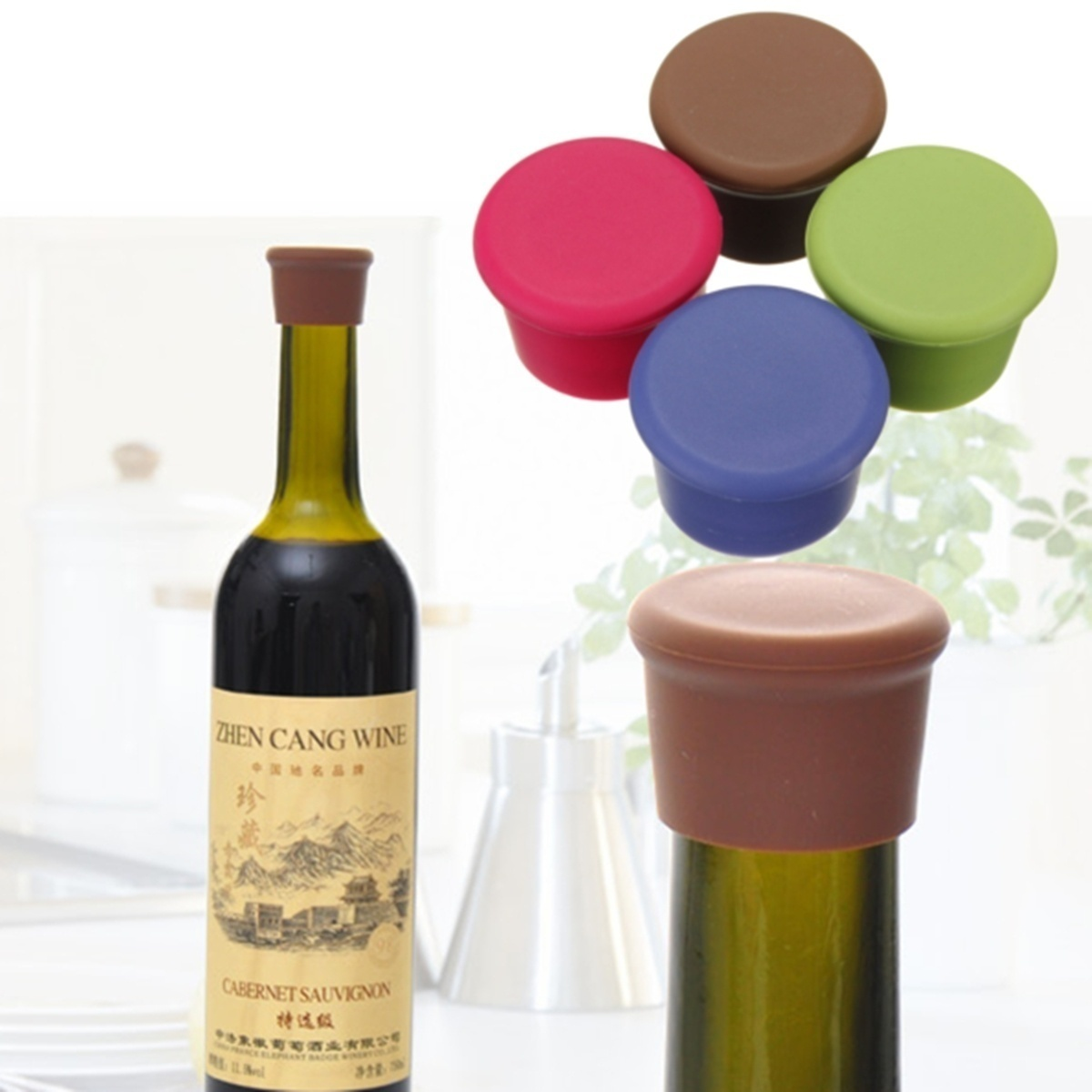 Silicone Wine Bottle Stoppers Candy Color Leak Free Wine Bottle Sealers For Red Wine And Beer Bottle Cap Bar Accessories