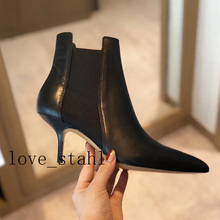 2019 lovestahl women top quality Genuine Leather stitching stretch cloth pointed small booties black high heels 7.5cm
