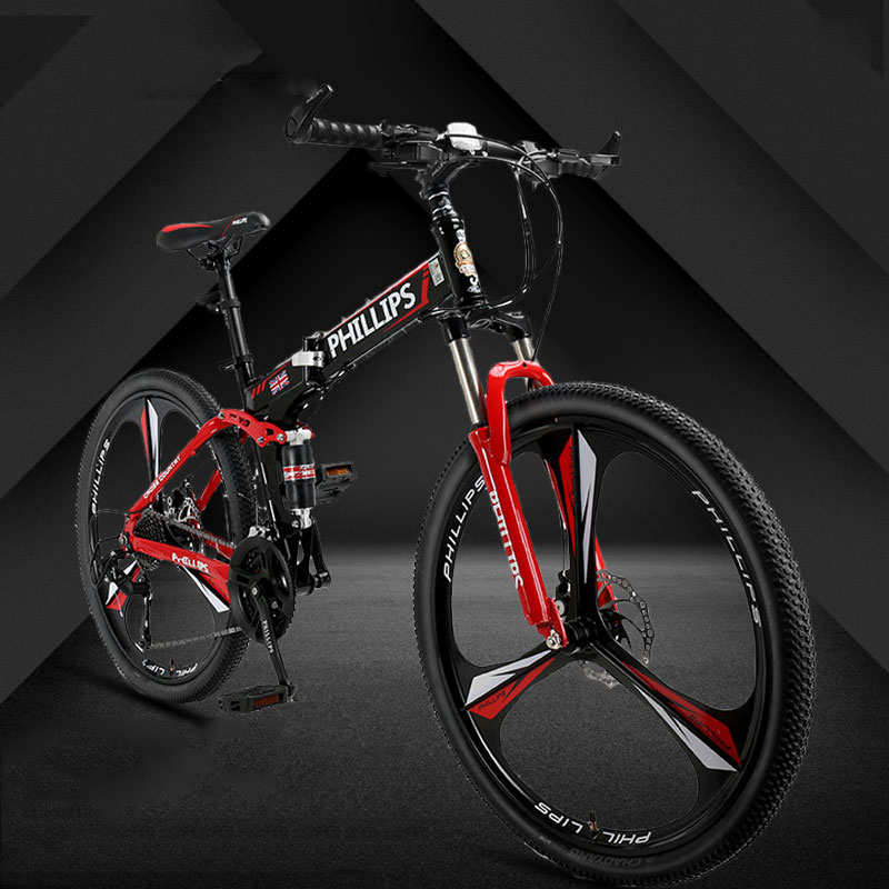 Mountain Bike 26 Inch 24 27 Speed Folding Double Disc Brake  Aluminum Alloy Rim One Wheel 3 Knife Student Bicycle 2019