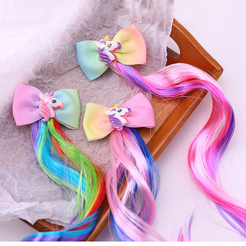 Kawaii Unicorn Sequin Bow Braid Hairpins Kids Princess Hair Ties Barrettes Accessories Hair Clips For Girls Glitter Hair Bows