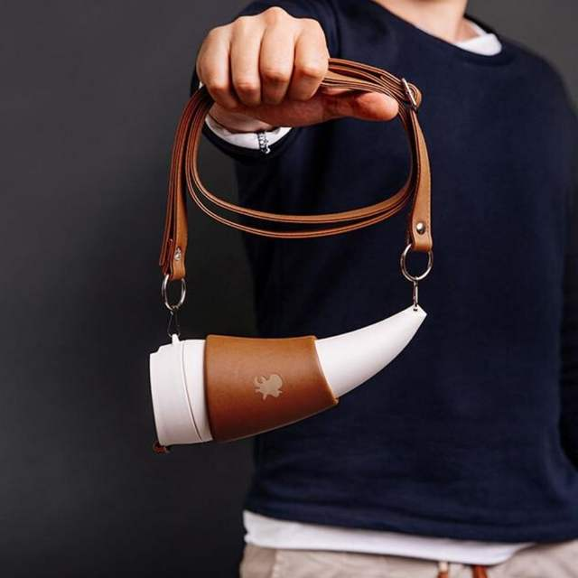 Goat Horn Shaped Coffee Mug with Carrying Straps
