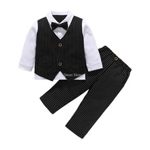 For age 2 to 3 M68 2021 Spring Autumn Boys' Attire Wedding Party Little Baby Suits Black White Gray Blue Khaki Clothes Set