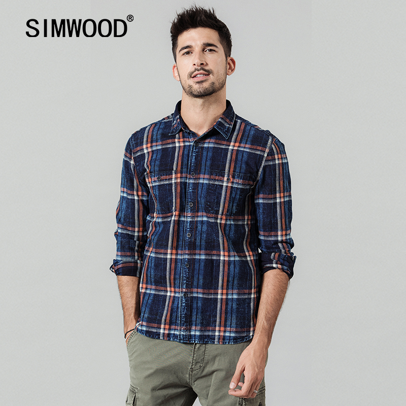 SIMWOOD 2020 Spring New Vintage Denim Shirts Men Plaid Vintage Indigo Washed Plus Size High Quaity 100% Cotton Shirt 190422