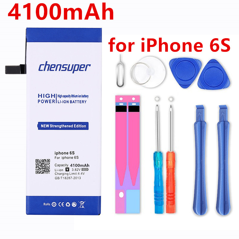 4100mAh <font><b>High</b></font> <font><b>Capacity</b></font> Phone Relacement <font><b>Battery</b></font> For Apple <font><b>iPhone</b></font> <font><b>6S</b></font> for iphone6S <font><b>battery</b></font> With Repair Installation Tools as a gift image