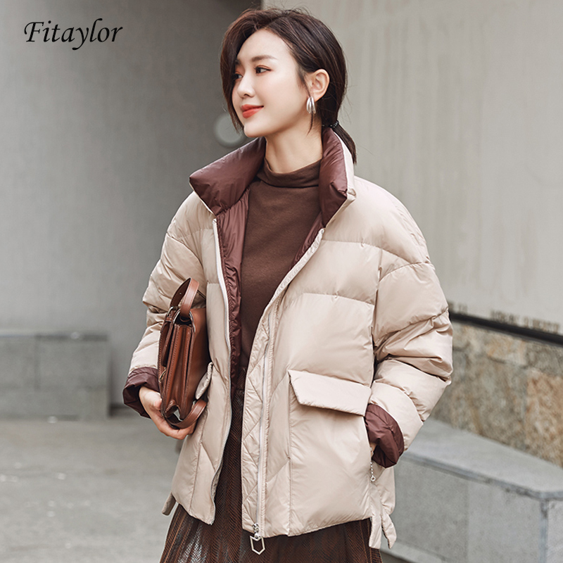 Fitaylor New Women White Duck Down Jacket Winter Stand Collar Loose Down Coat Female Warm Short Snow Outwear