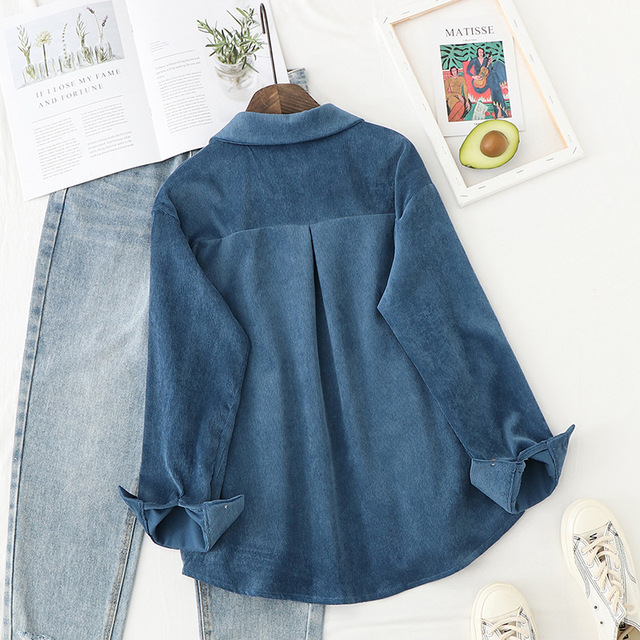 Corduroy Shirts Womens Tops And Blouses Long Sleeve Spring Ladies Solid Loose Boyfriend Style Shirt 5