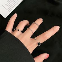 Женское кольцо с геометрическим узором ringen черное регулируемое