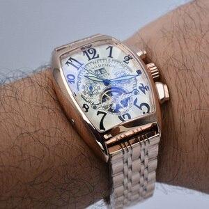 Image 5 - トゥールビヨン腕時計メンズスケルトン自動機械式メンズ腕時計トップブランドの高級軍スポーツウォッチステンレス鋼男性時計