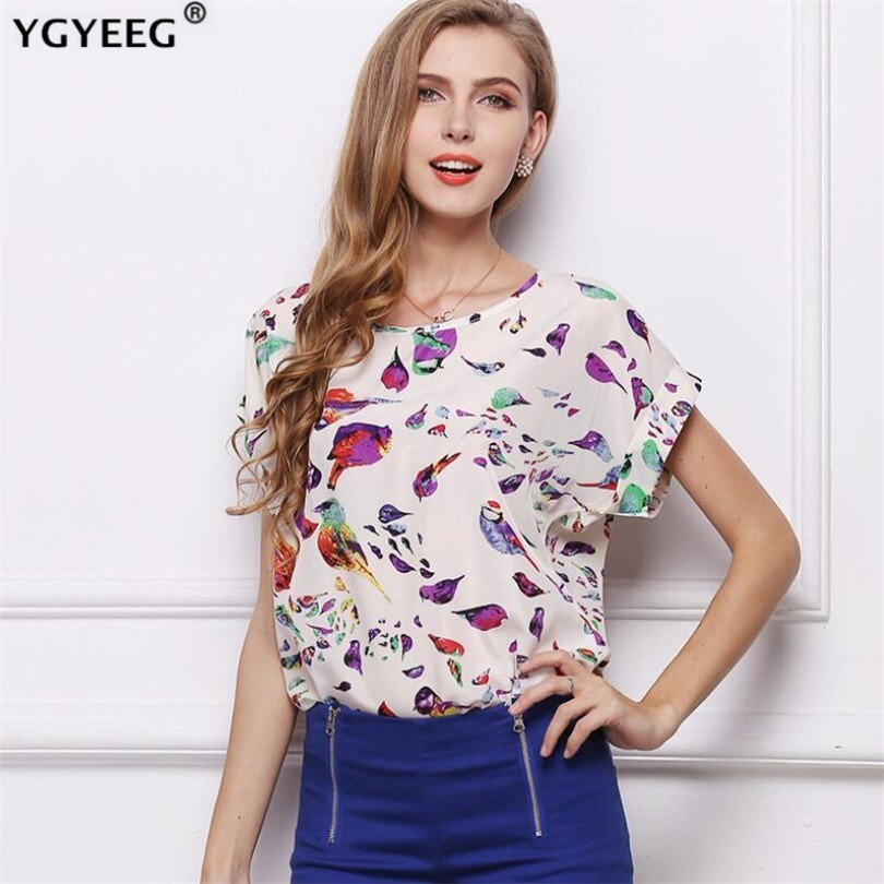 YGYEEG Summer Women White Striped Chiffon   Blouses     Shirts   2019 New Fashion Top Short Sleeve O-neck   Blouse   Women Tops Tee Blusas