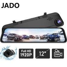 Jado g840s 2020 novo 12-inch streaming espelho retrovisor do carro dvr câmera frente 1296p traseira 1080p lente condução gravador de vídeo traço cam