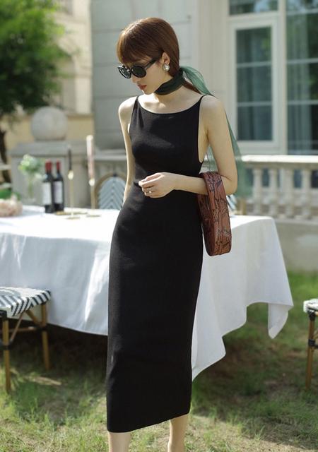 Black Sexy Dress Spaghetti Strap Female Party Dresses For Women Summer Bodycon Skinny Knitted Dress C-104 3