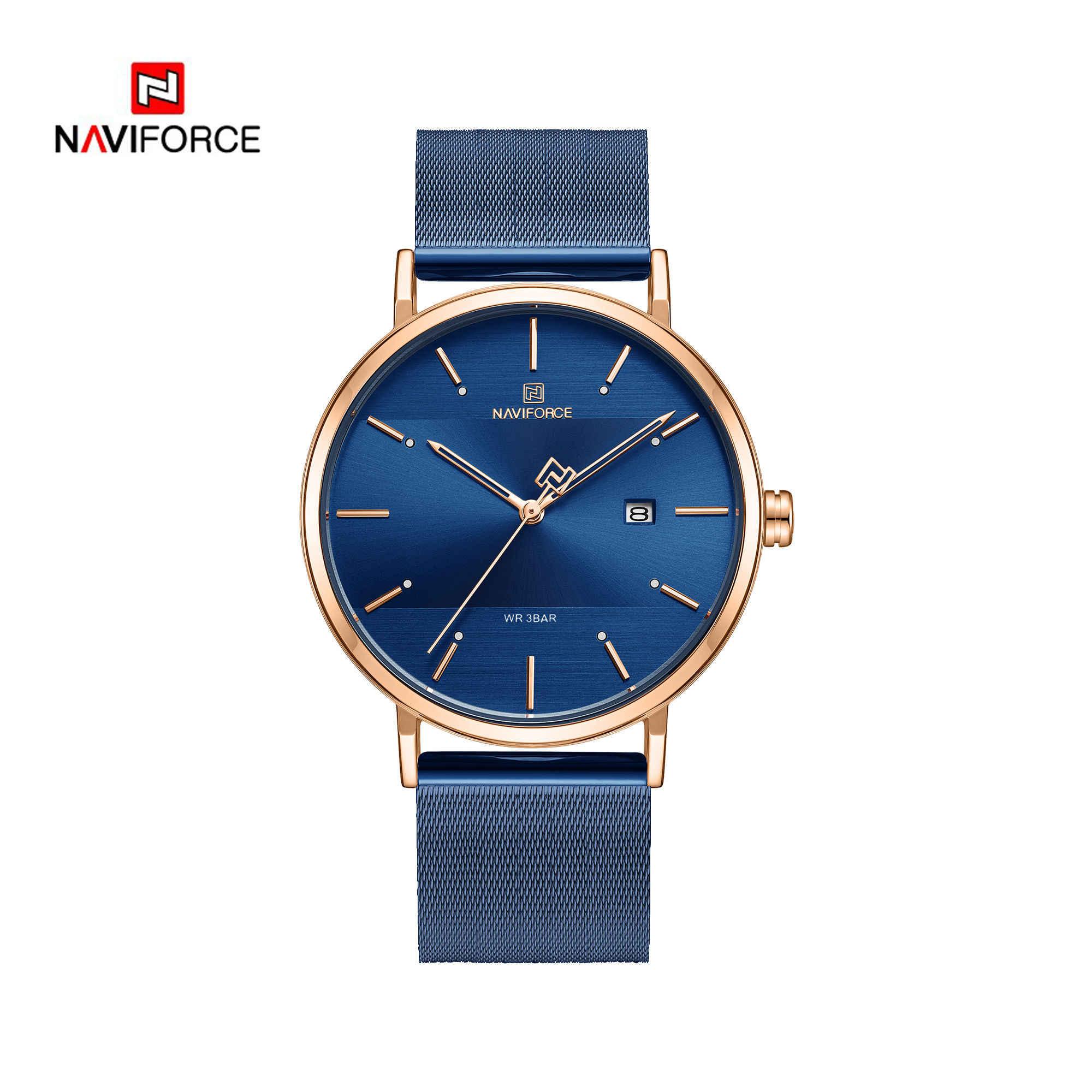 NAVIFORCE אופנה שעון זוג רשת פלדת חגורת נשים שעונים למעלה מותג יוקרה עמיד למים נשים שעונים Reloj Mujer