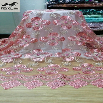 Madison Pink Nigerian French Mesh red Lace Fabrics Guipure Tulle Embroidered African Laces Fabric With Stones Beaded for Party