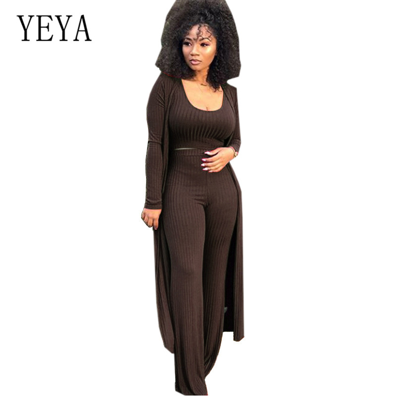 YEYA Autumn New High elastic Kniting Pit 3 Pieces Suits Loose Jumpsuits Long Sleeve Women Rompers Casual Femme Go Out Playsuits in Jumpsuits from Women 39 s Clothing