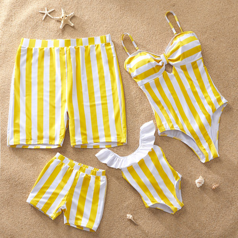 Family Look Mommy and Me Swimsuit One-Piece Matching Outfits Mom Mum Daughter Dresses Clothes Striped Mother Daughter Swimwear